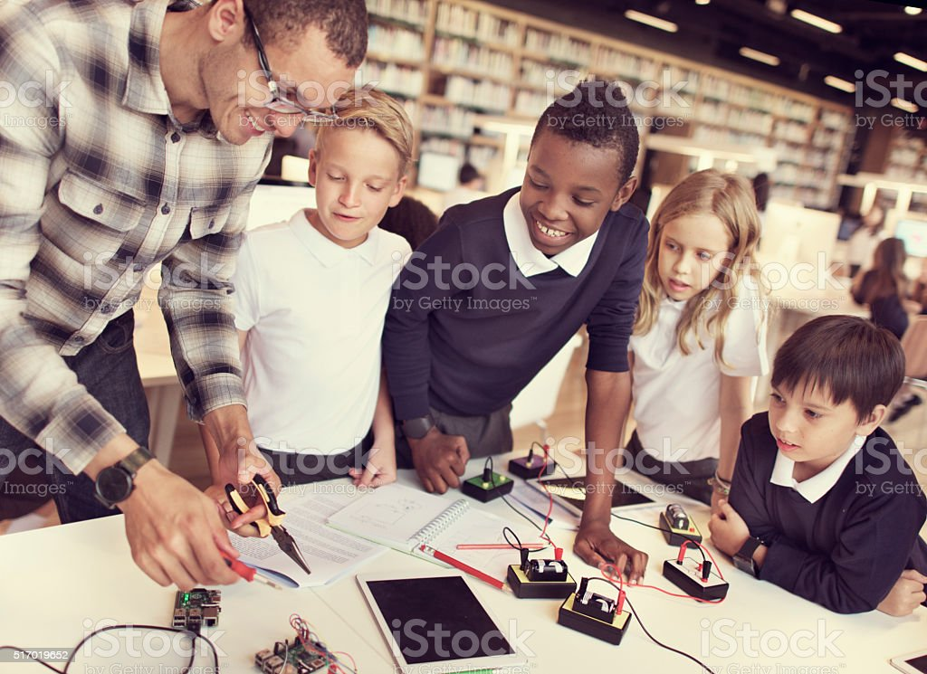 Eletronic Experiment Observation Physics Study Concept stock photo