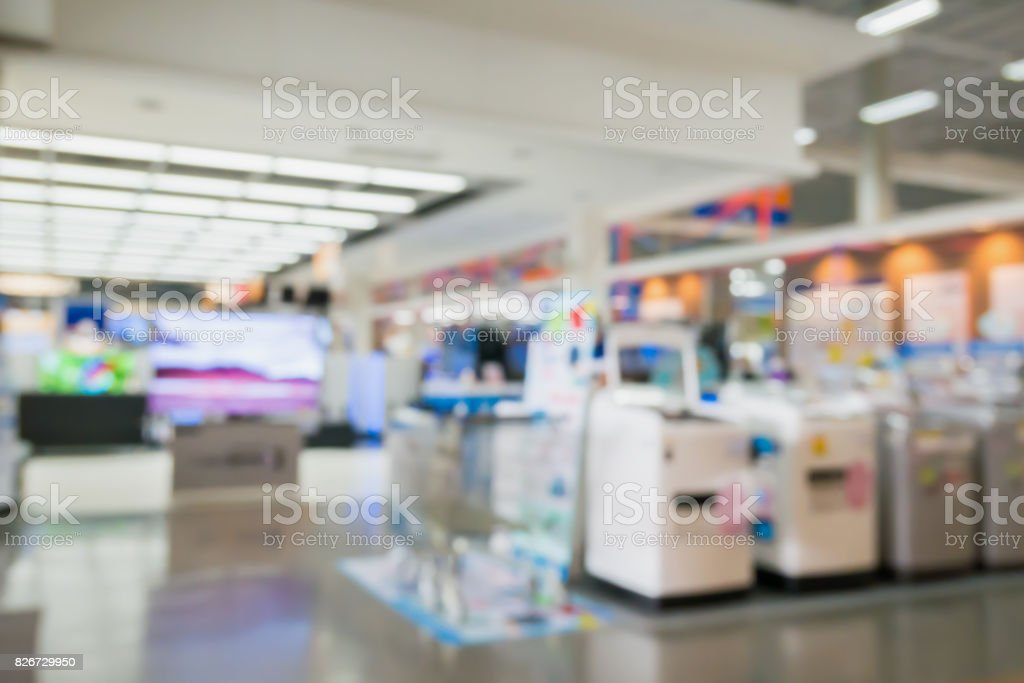 eletronic shop department store with bokeh blurred background stock photo