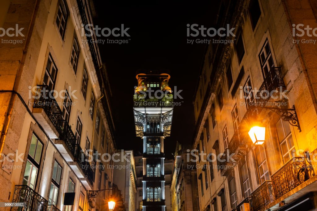 Elevador de Santa Justa in Lisbon at night stock photo
