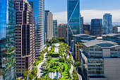 Salesforce Park and transit bay in San Francisco. A sunny day over the city with a view of the elevated park.