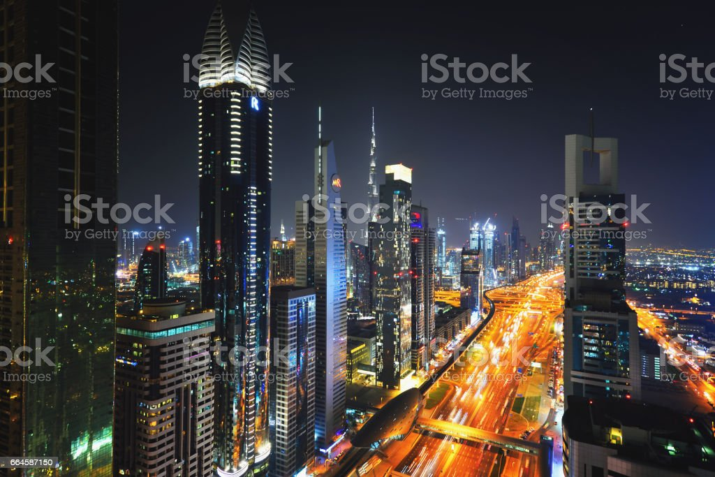 Elevated cityscape of Sheikh Zayed Road in Dubai at night stock photo