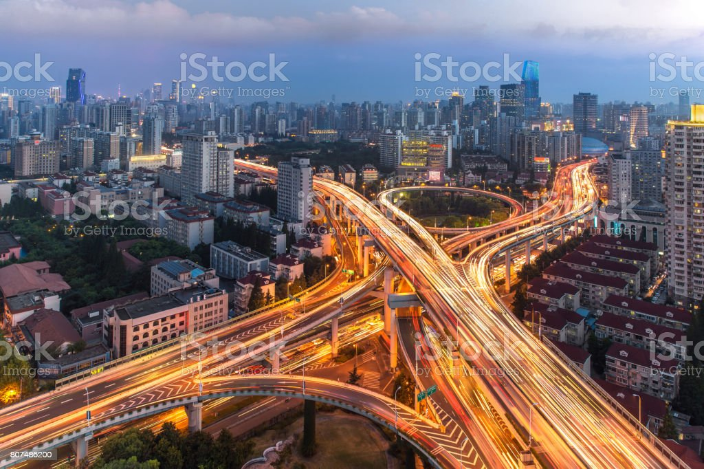 Elevated highway and overpass in modern city stock photo