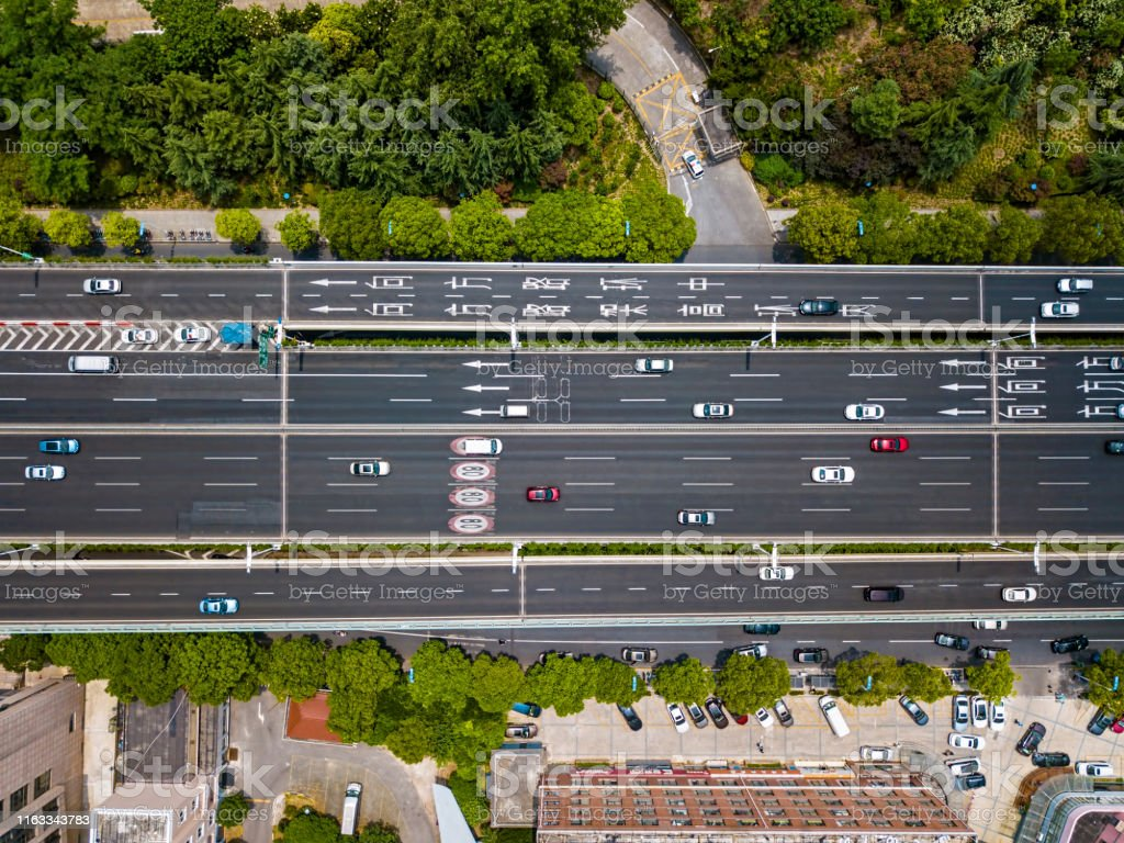 Aerial view of elevated urban highway in city