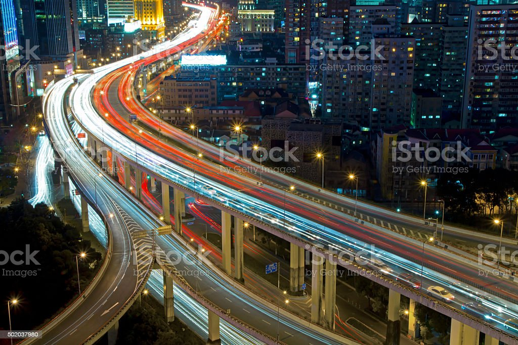 Elevated highway in Shanghai downtown stock photo