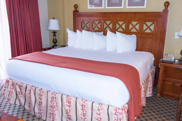 Elevated King size Bed stock photo