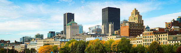 Elevated Montreal panoramic skyline on sunny Autumn morning stock photo