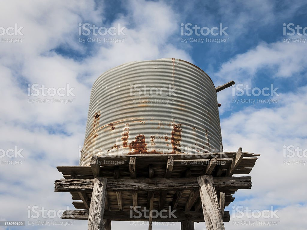 Elevated old water tank stock photo