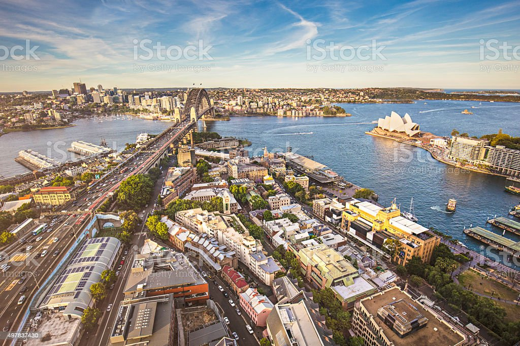 Elevated panorama of Sydney at sunset stock photo