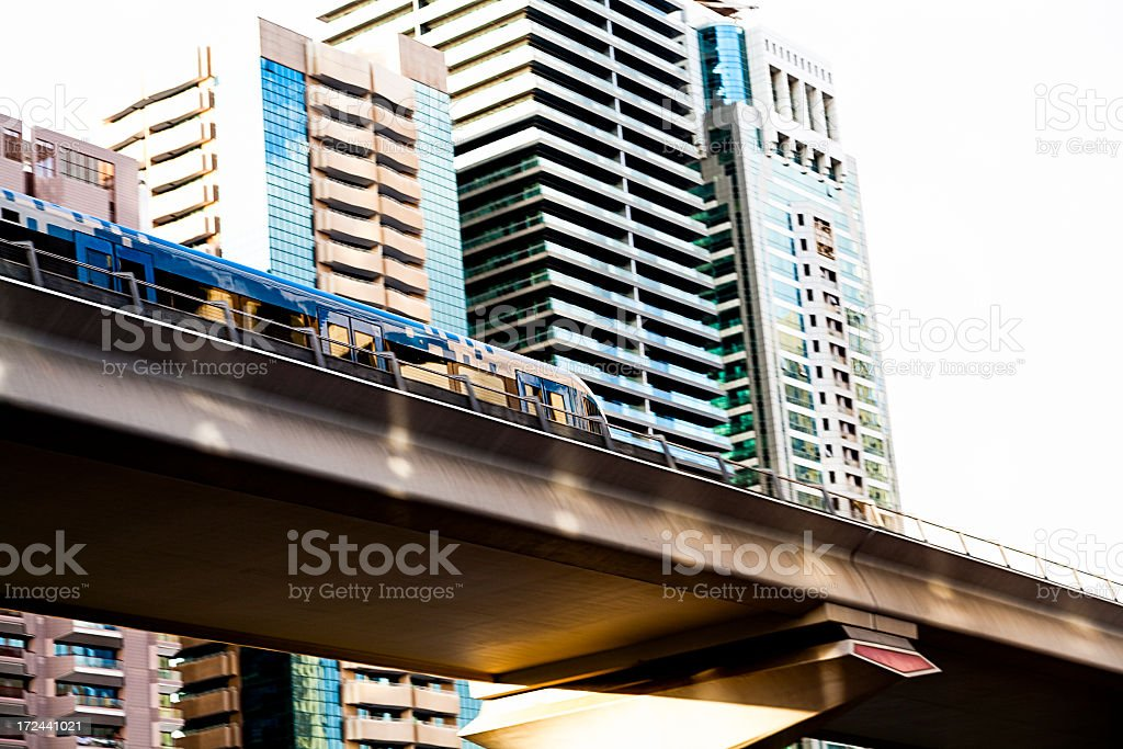 Elevated railway track with highrise. royalty-free stock photo