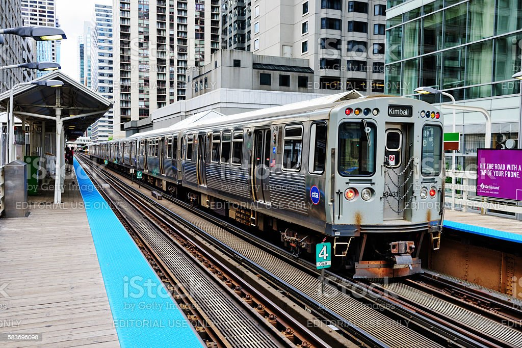 Elevated Railway Train and Station, Chicago Loop stock photo