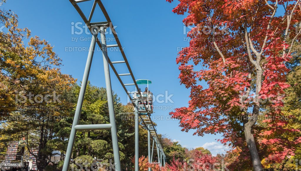 Elevated ride in the trees on Nami Island in South Korea stock photo