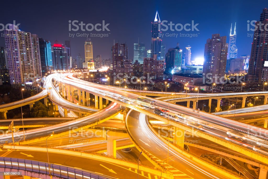 elevated road junction panorama in shanghai at dusk,China stock photo