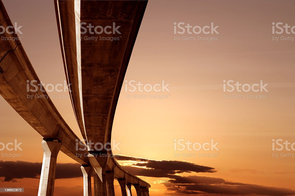 XXL elevated roadway at sunset stock photo
