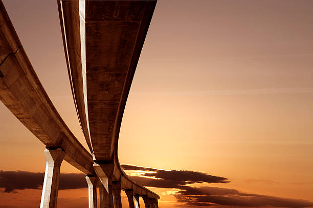XXL elevated roadway at sunset elevated roadway at sunset (XXL) elevated road stock pictures, royalty-free photos & images