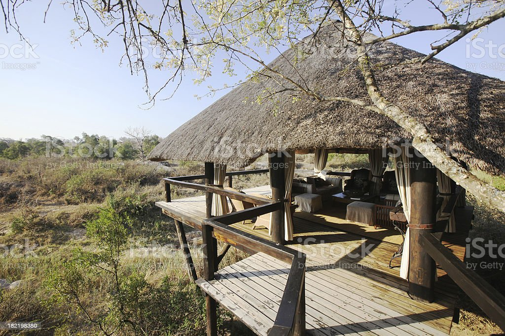 Elevated Safari Lodge Overlooking Reserve stock photo