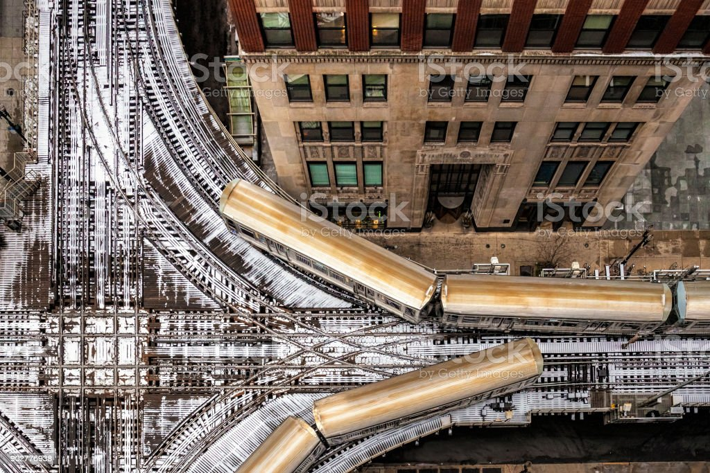 Elevated Train in Chicago stock photo