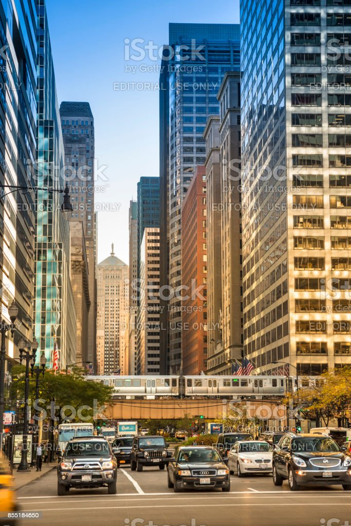 Elevated train tracks in downtown Chicago Illinois USA stock photo