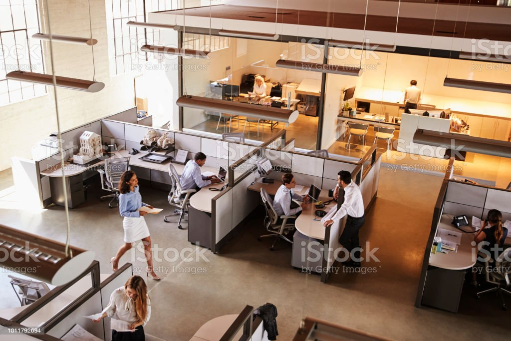 Elevated view of a busy open plan office stock photo