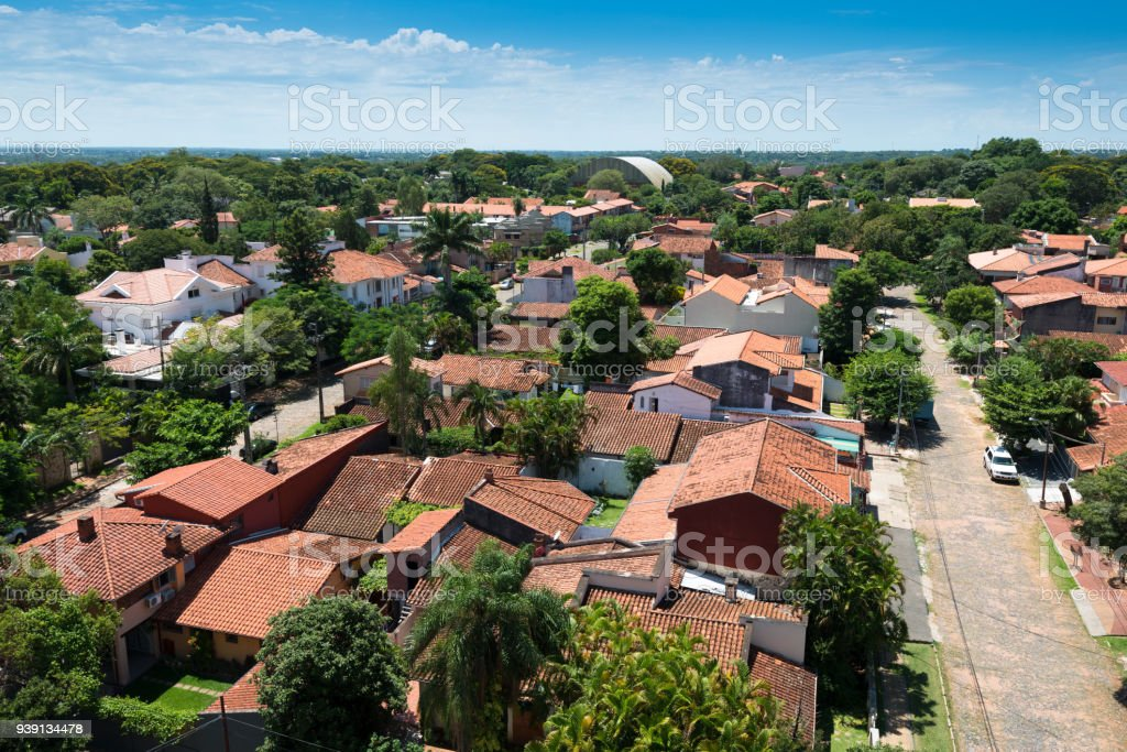 Elevated view of a residential neighborhood in Asuncion stock photo