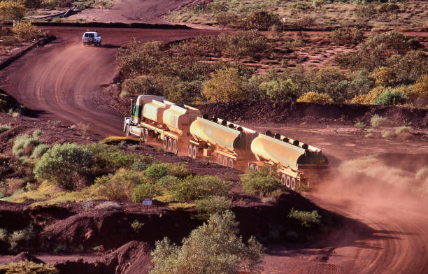 Elevated view of a roadtrain hauling fuel stock photo