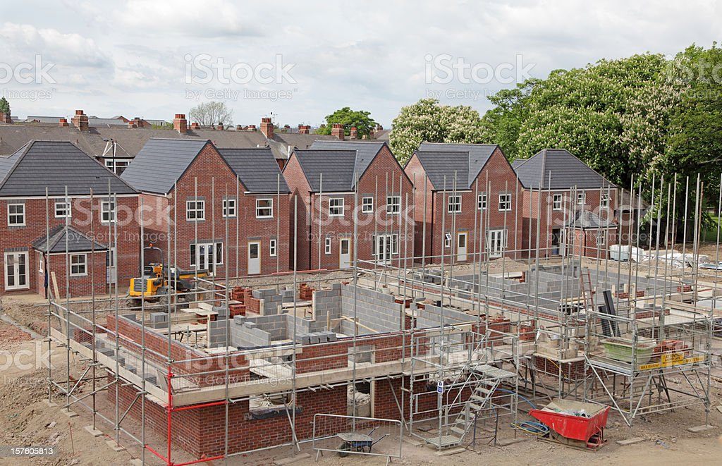elevated view of a uk building site stock photo