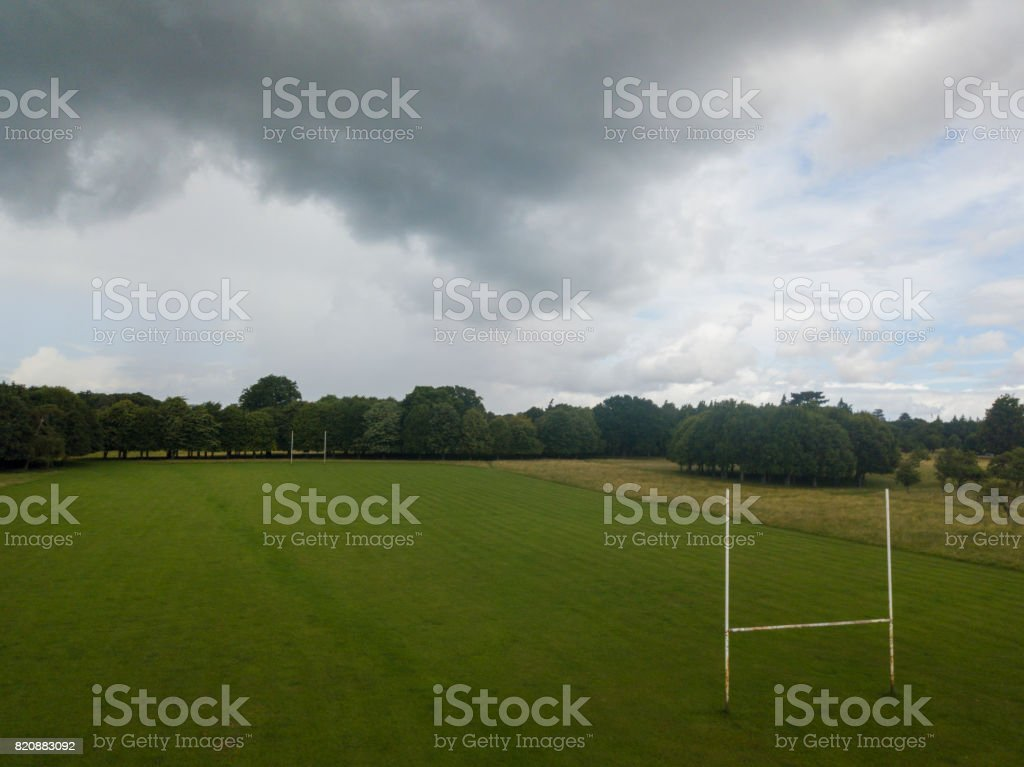 Elevated view of an empty playing field royalty-free stock photo