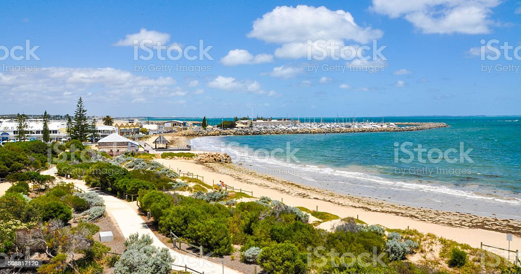 Elevated View of Bather's Beach: Fremantle, Western Australia stock photo