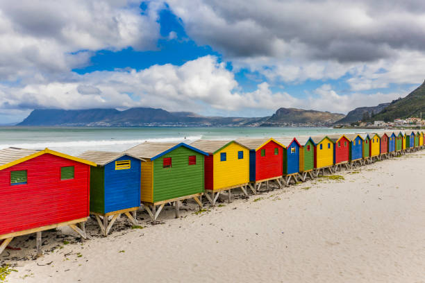 Elevated view of beach huts in Muizenberg Beach, Cape Town, South Africa stock photo
