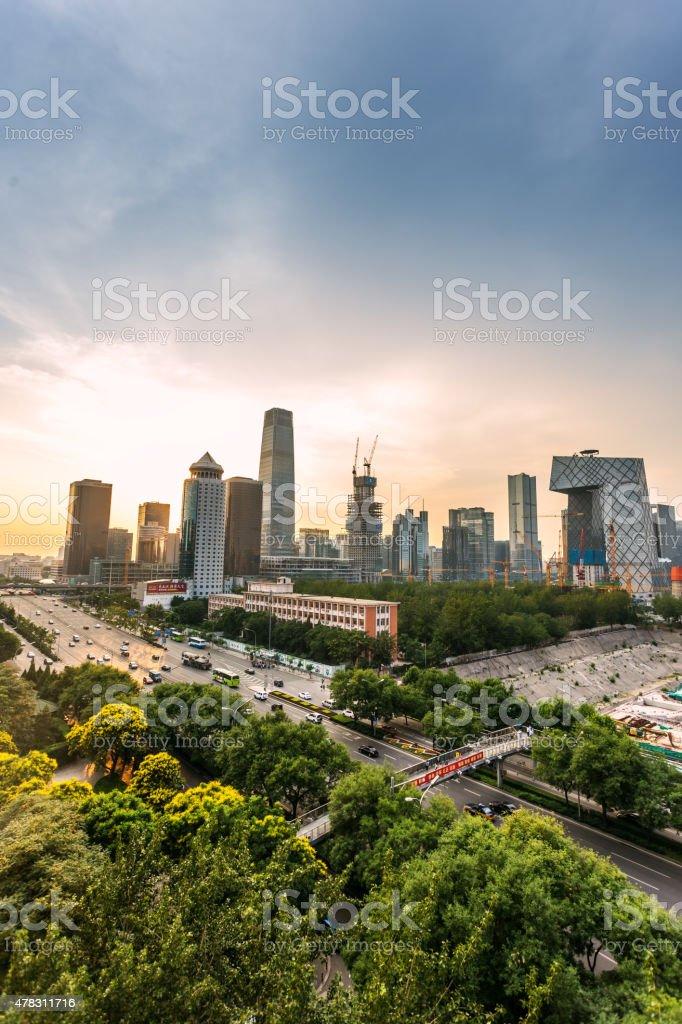 Elevated View of Beijing Skyline stock photo