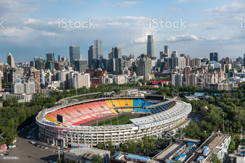 Elevated View of Beijing Workers' Stadium stock photo