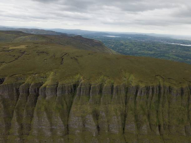 Elevated view of Benbulben Mountain in County Sligo in west of Ireland stock photo