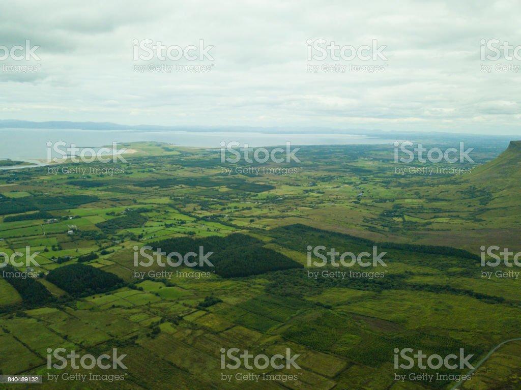 Elevated view of Benbulben mountain range, Co. Sligo, Ireland. royalty-free stock photo