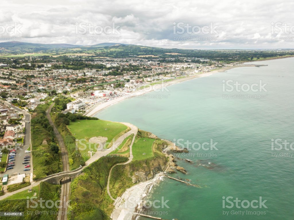 Elevated view of Bray head and Bray town, Co. Wicklow, Ireland. stock photo