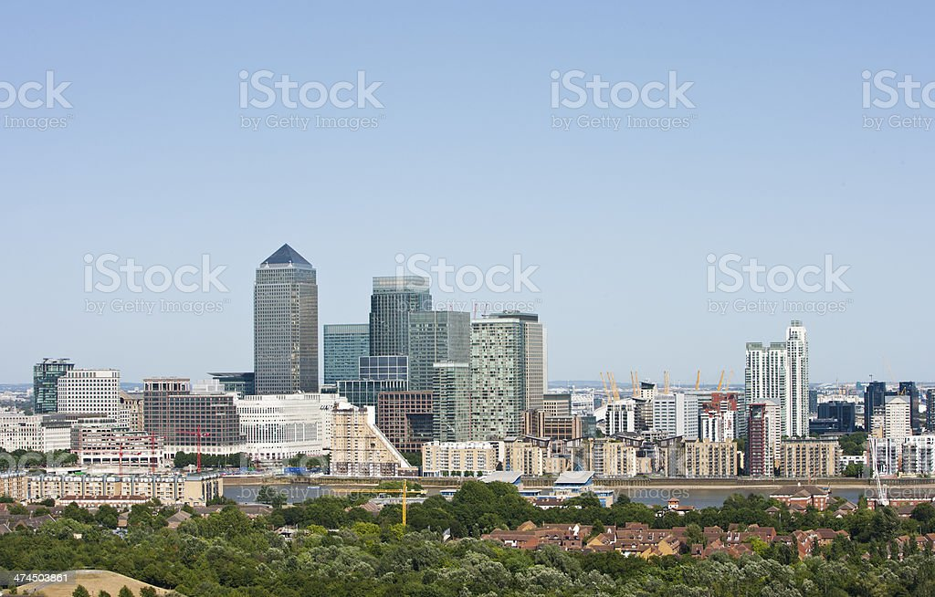 Elevated view of Canary Wharf, London royalty-free stock photo