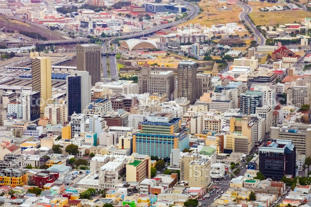 Elevated view of Cape Town city foreshore stock photo