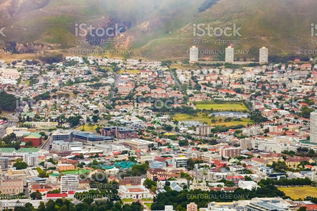 Elevated view of Cape Town City stock photo
