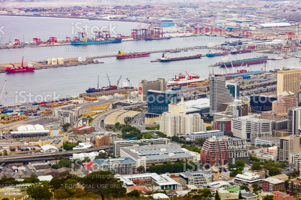 Elevated view of Cape Town harbor stock photo