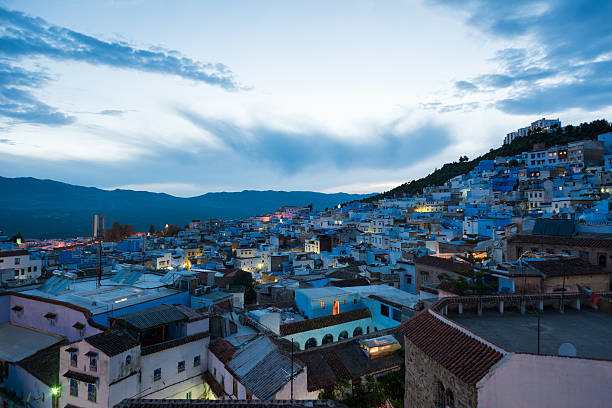 Elevated view of Chefchaouen, Morocoo at dusk stock photo