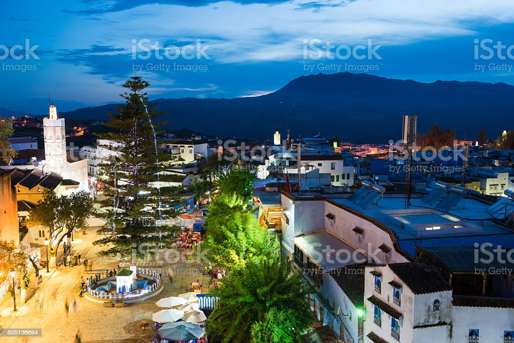 Elevated view of Chefchaouen Square, Morocoo at dusk stock photo