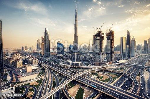 DUBAI, UAE - FEBRUARY 09, 2017: Elevated view of downtown Dubai at daytime with Burj Khalifa and Sheikh Zayed road.DUBAI, UAE - FEBRUARY 09, 2017: Elevated view of downtown Dubai at daytime with Burj Khalifa and Sheikh Zayed road.