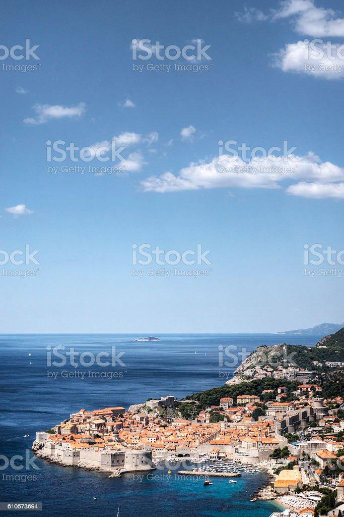Elevated View of Dubrovnik Croatia on the Adriatic Sea stock photo