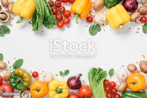 elevated view of frame made of ripe vegetables isolated on white