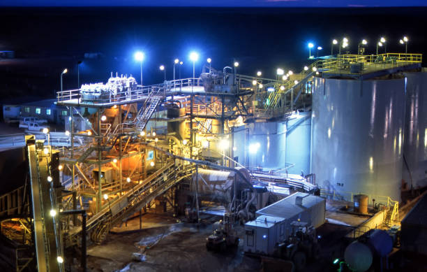 Elevated view of Gold Mine processing at night stock photo