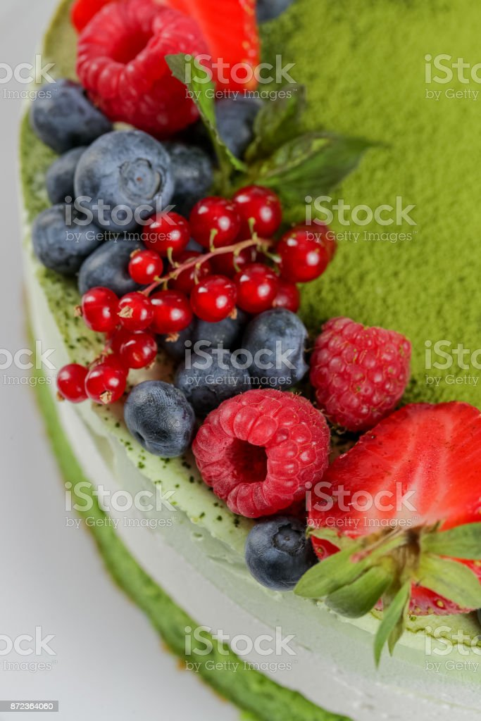 Elevated view of green tea cake stock photo