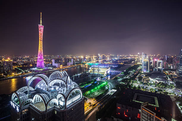 elevated view of guangzhou cbd night - guangzhou stok fotoğraflar ve resimler