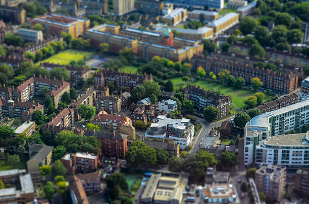 Elevated view of houses and parks, London stock photo