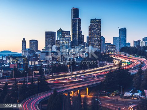 exposure of Interstate 5 and seattle downtown skyline,Washington State,USA.