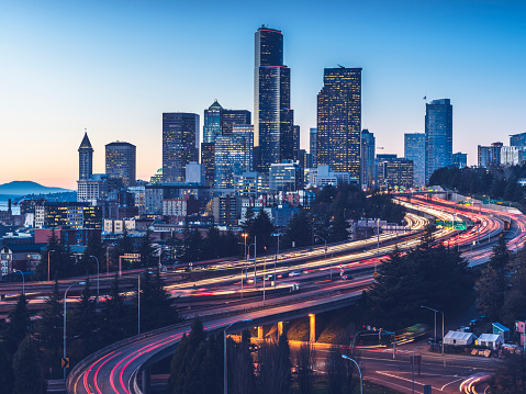 elevated view of Interstate 5 and seattle downtown skyline