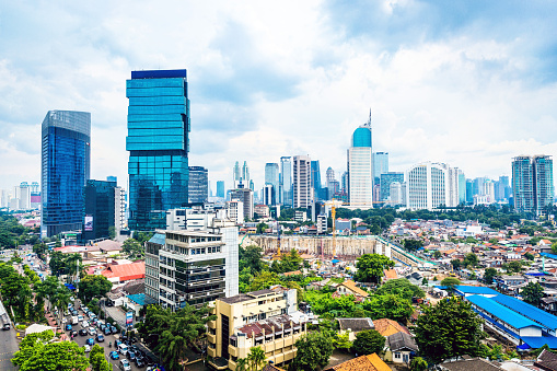 Elevated View Of Jakartas Skyline Stock Photo - Download Image Now