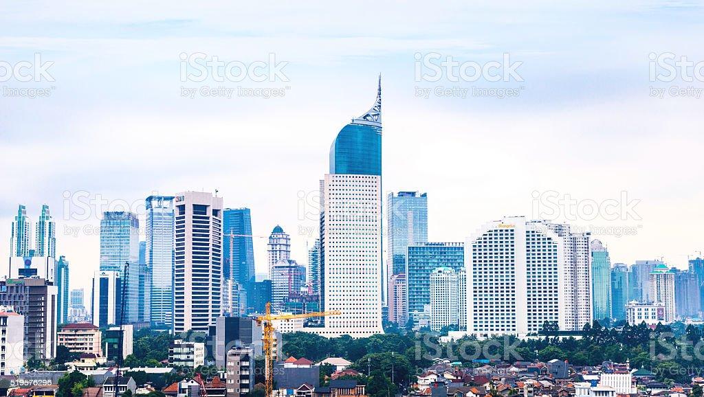 Elevated view of Jakarta's Skyline stock photo